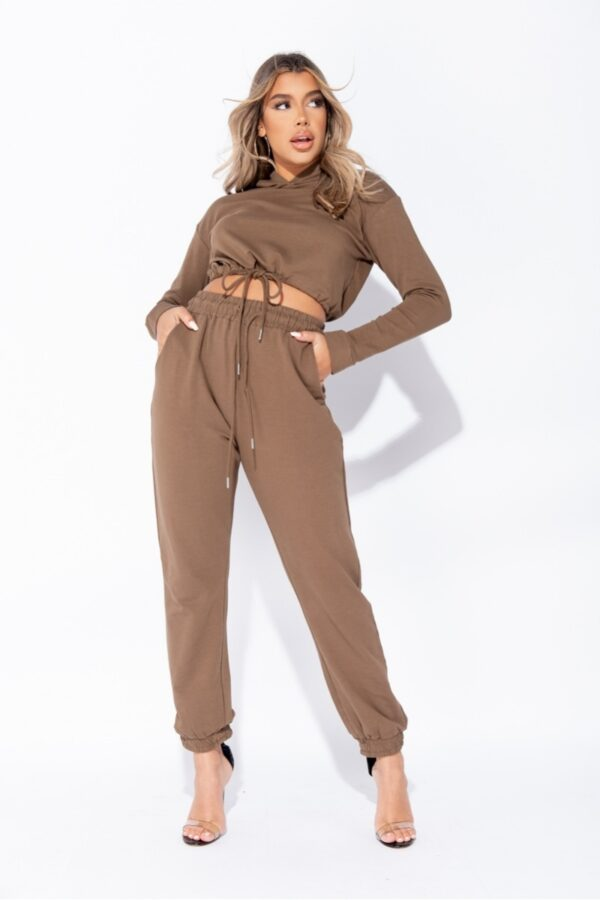knitwear and Olive Cropped Hoodie & Jogger Lounge Set at www.amora-shopping.com