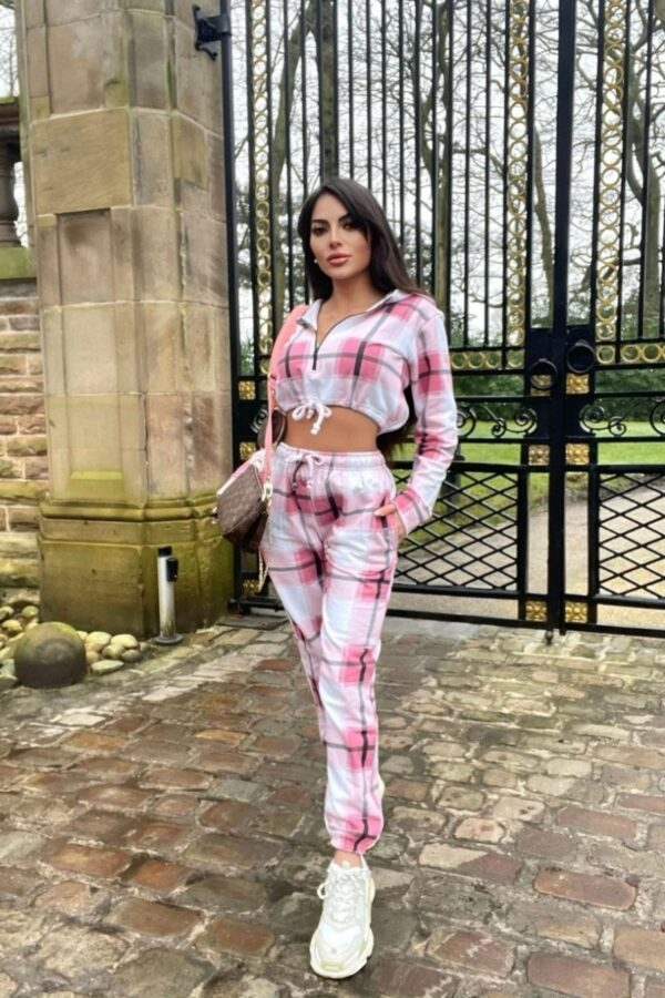 Shop Pink Checked Cropped Hoodie & Jogger Lounge Set and women's clothes at www.amora-shopping.com