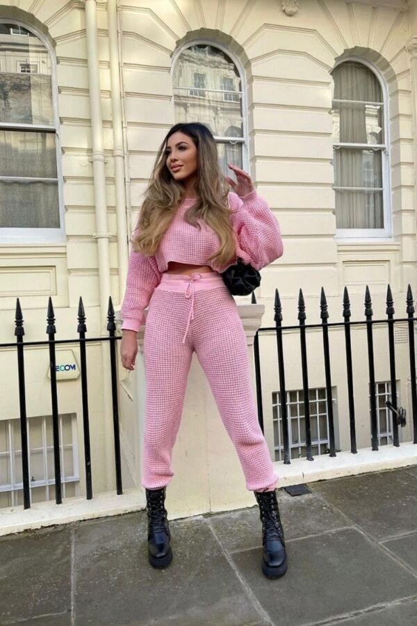 Shop Pink Waffle Knit Cropped Jumper Lounge Set and women's clothes at www.amora-shopping.com