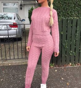 Shop Rose Pink Cable Knit Jogger Lounge Set and women's clothes at www.amora-shopping.com