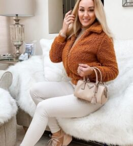Shop Rust Borg Fur Zip Front Bomber Jacket and women's clothes at www.amora-shopping.com