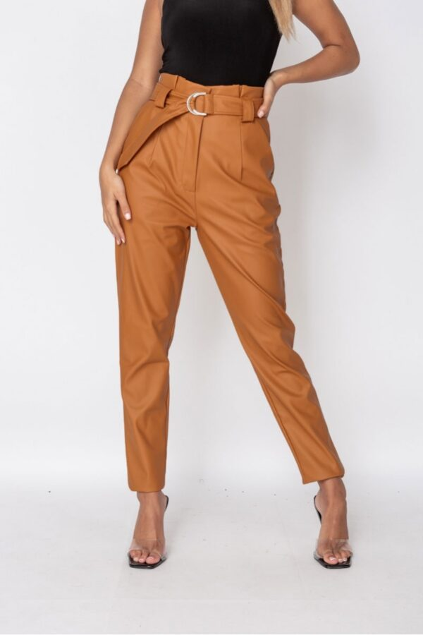 knitwear and Rust Faux Leather Paperbag Waist Trousers at www.amora-shopping.com