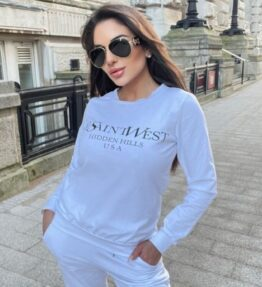 Shop White Ye Saint West Jumper & Jogger Loungewear Set and women's clothes at www.amora-shopping.com