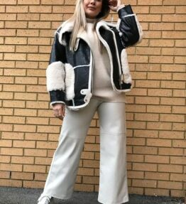 Shop Shearling Leather Alison Jacket and women's clothes at www.amora-shopping.com