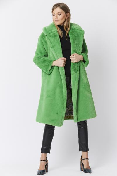 Shop Faux Fur Coat with Belt and women's clothes at www.amora-shopping.com