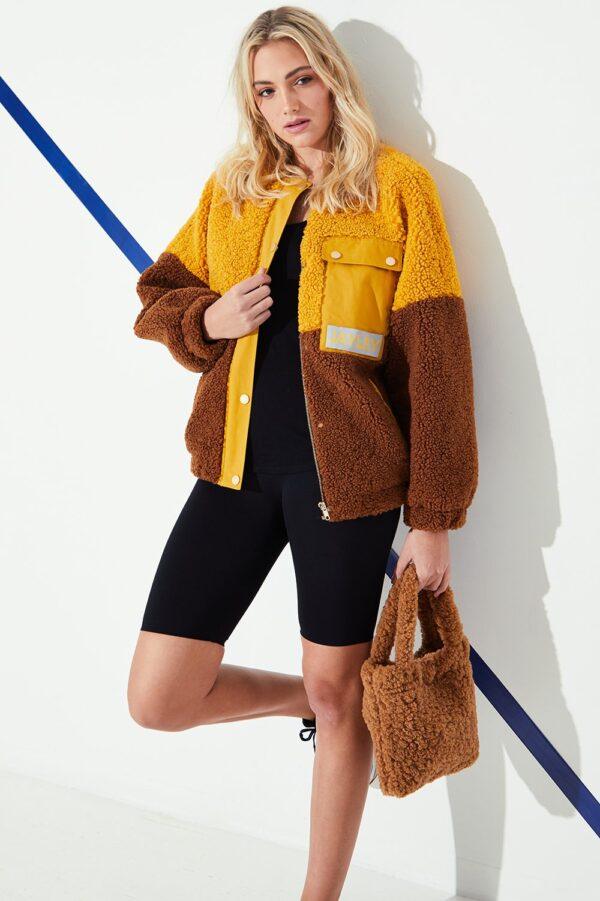 Shop Shearling Zip Up Hood Jacket and women's clothes at www.amora-shopping.com