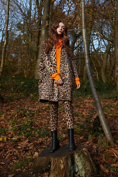 Shop Faux Suede Leopard Print Trench Style Jacket and women's clothes at www.amora-shopping.com