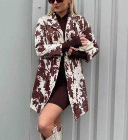Shop Faux Suede Cow Print Coat and women's clothes at www.amora-shopping.com