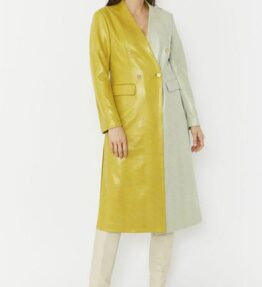Shop Faux Suede Contrast Coat and women's clothes at www.amora-shopping.com