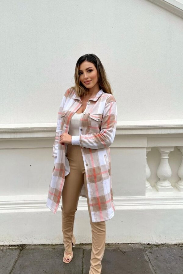 Shop Beige Checked Longline Shacket and women's clothes at www.amora-shopping.com