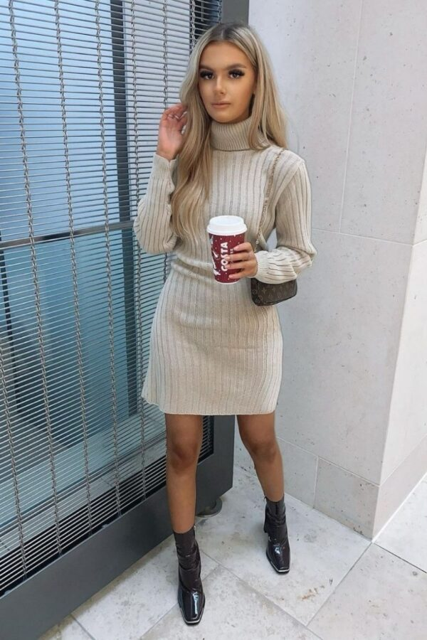 Shop Beige Rib Knit Roll Neck Jumper Dress and women's clothes at www.amora-shopping.com