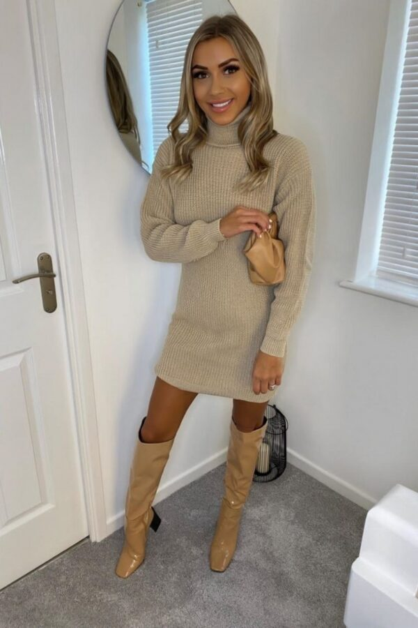 Shop Beige Roll Neck Knitted Mini Dress and women's clothes at www.amora-shopping.com