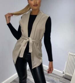 Shop Beige Wool Effect Edge To Edge Sleeveless Belted Blazer and women's clothes at www.amora-shopping.com