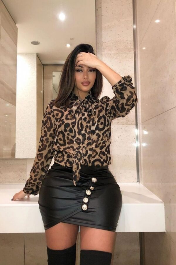Shop Black Beige Leopard Print Pussybow Tie Chiffon Blouse and women's clothes at www.amora-shopping.com
