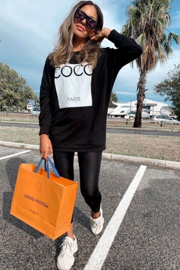Shop Black Coco Print Oversized Sweatshirt and women's clothes at www.amora-shopping.com
