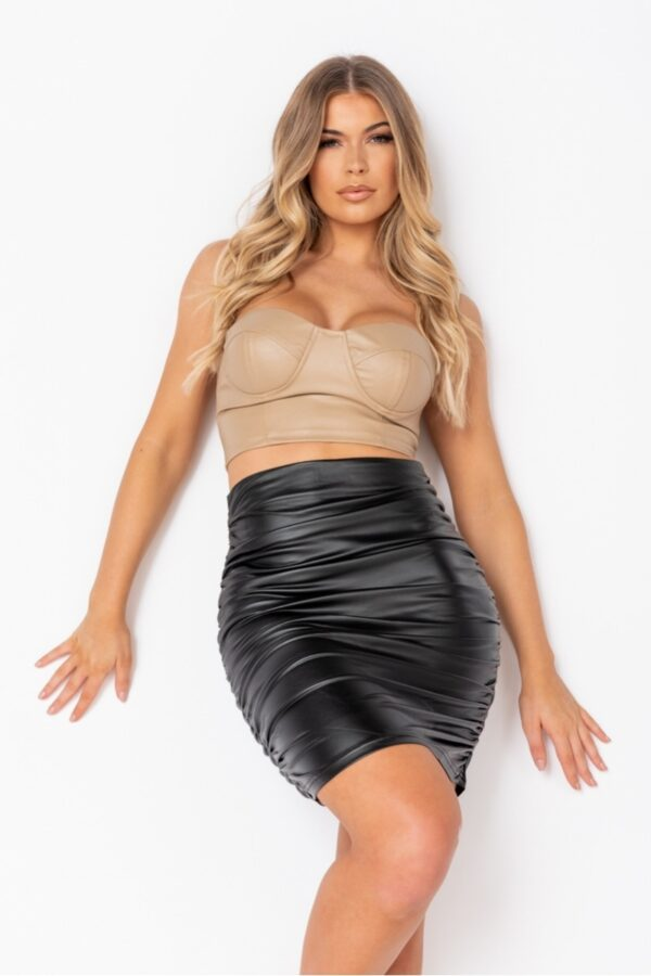 Shop Black Faux Leather Ruched Mini Skirt and women's clothes at www.amora-shopping.com