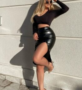 Shop Black Faux Leather Thigh Split Midi Skirt and women's clothes at www.amora-shopping.com