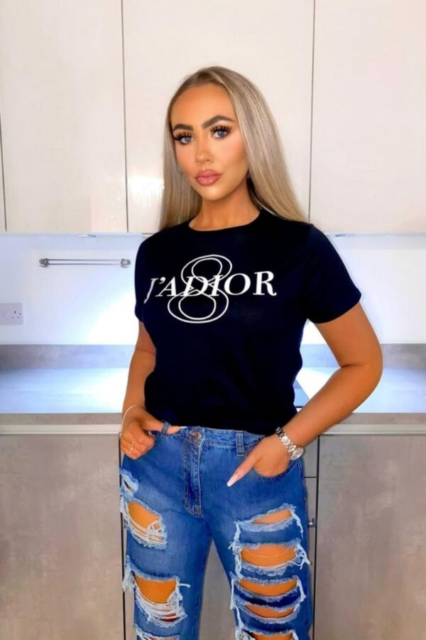 Shop Black J'Adior Slogan Fitted T Shirt and women's clothes at www.amora-shopping.com