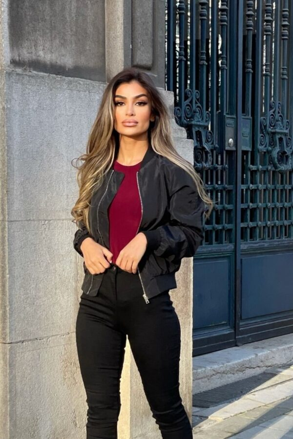 Shop Black Nylon Cropped Bomber Jacket and women's clothes at www.amora-shopping.com