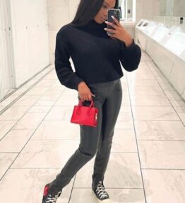 Shop Black Roll Neck Ribbed Jumper and women's clothes at www.amora-shopping.com