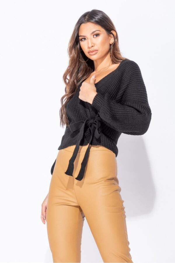 •Shop wrap front belted puff sleeve cropped cardigans