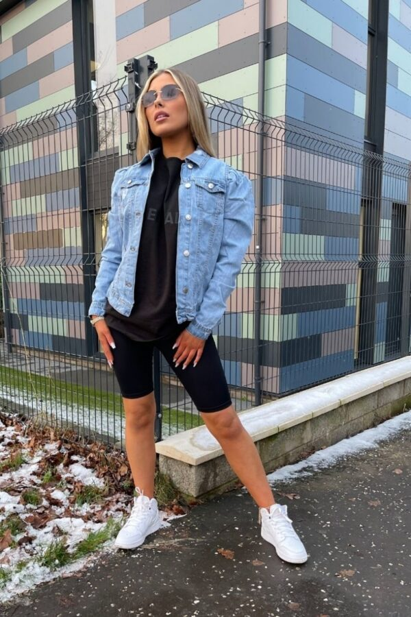 Shop Blue Distressed Puff Sleeve Denim Jacket and women's clothes at www.amora-shopping.com
