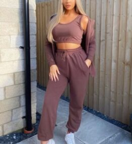 Shop Brown 3 Piece Hoody & Jogger Lounge Set and women's clothes at www.amora-shopping.com