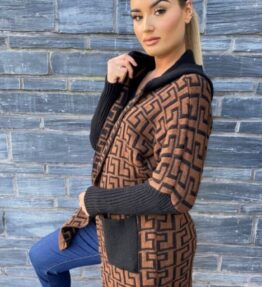 Shop Brown Black Geometric Hooded Cardigan and women's clothes at www.amora-shopping.com