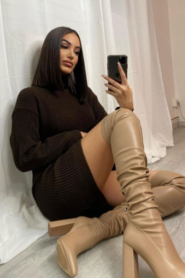 Shop Brown Roll Neck Knitted Mini Dress and women's clothes at www.amora-shopping.com