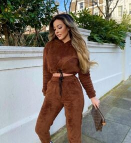 Shop Brown Teddy Borg Cropped Hoodie & Jogger Lounge Set and women's clothes at www.amora-shopping.com