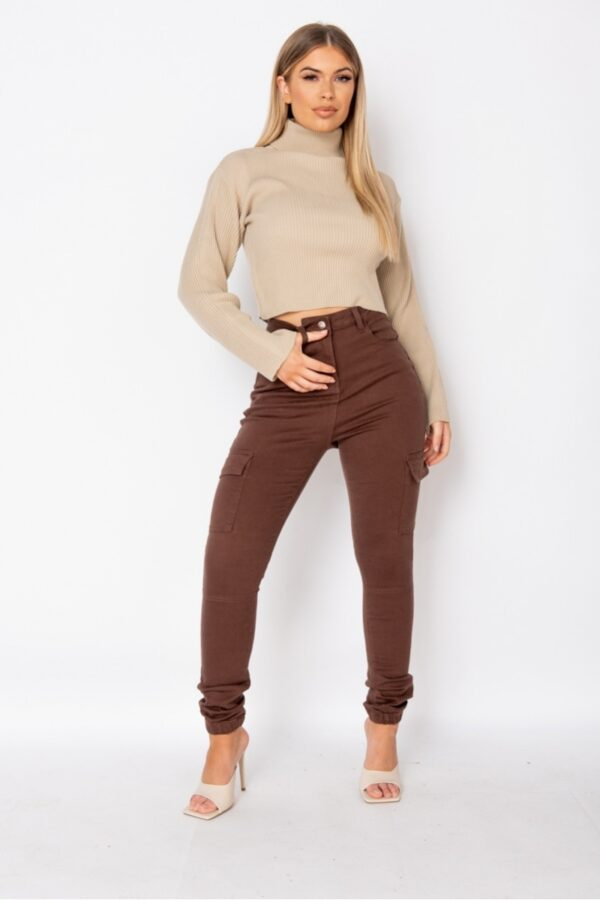 Shop Brown Utility Cargo Trouser and women's clothes at www.amora-shopping.com