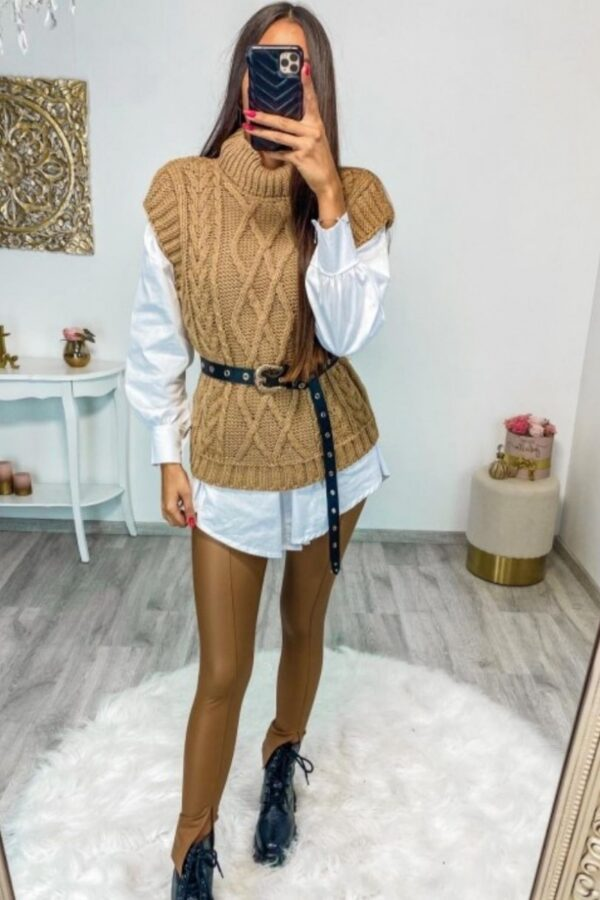 Shop Camel Cable Knit Sleeveless Knitted Top and women's clothes at www.amora-shopping.com