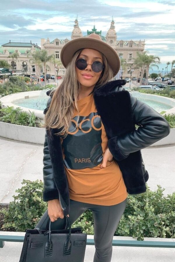 Shop Camel Coco Print Oversized Sweatshirt and women's clothes at www.amora-shopping.com