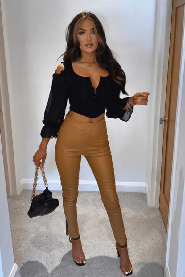 Shop Camel Faux Leather High Waist Side Split Hem Jeggings and women's clothes at www.amora-shopping.com