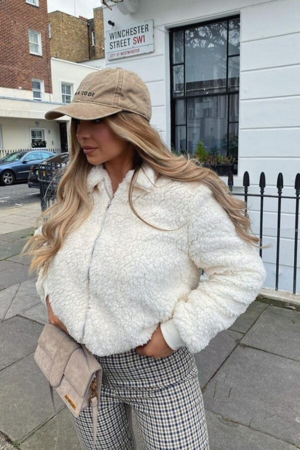 Shop Cream Borg Fur Zip Front Bomber Jacket and women's clothes at www.amora-shopping.com