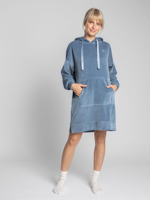 Shop A velor kangaroo dress with a hood and satin straps and decorative embroidery