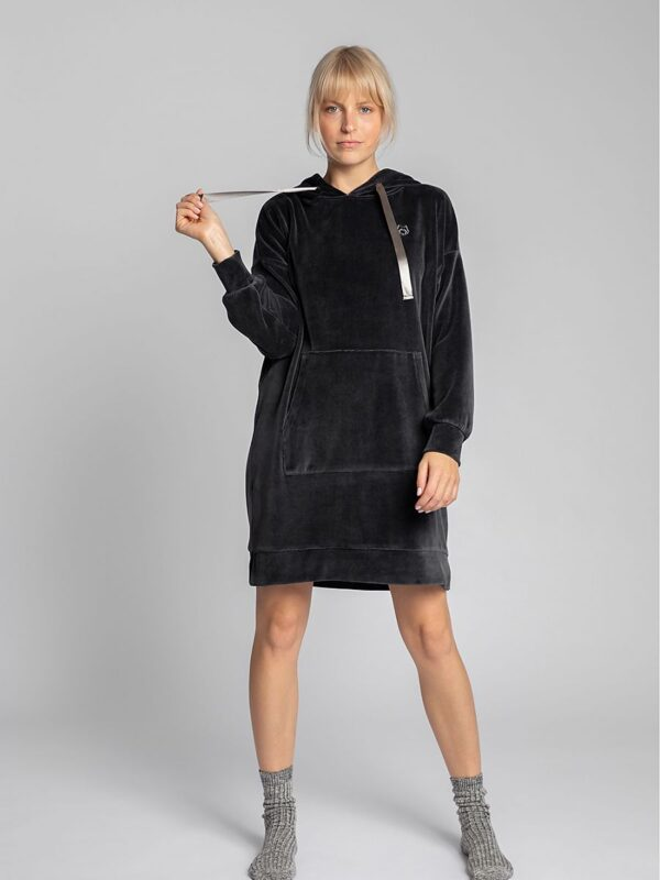 Shop A kangaroo dress with a hood and satin straps and decorative embroidery for sports