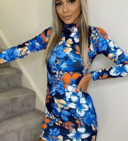 Shop Flower Print Turtle Neck Long Sleeve Mini Dress and women's clothes at www.amora-shopping.com