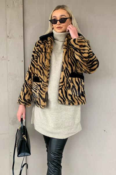 Shop Faux Fur Tiger Print Jacket with Contrast Collar and women's clothes at www.amora-shopping.com