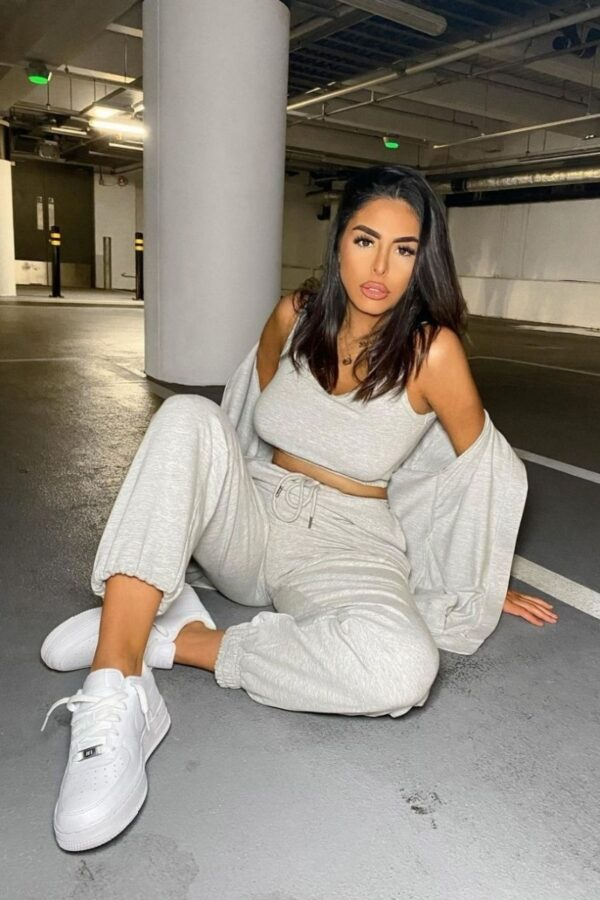 Shop Grey 3 Piece Hoody & Jogger Lounge Set and women's clothes at www.amora-shopping.com