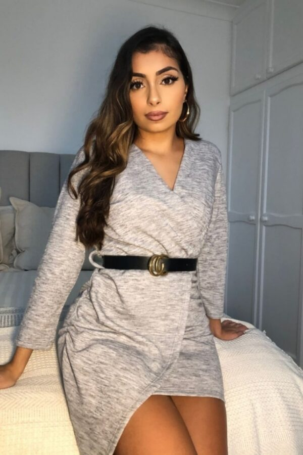 Shop Grey Belted Asymmetric Knitted Mini Dress and women's clothes at www.amora-shopping.com