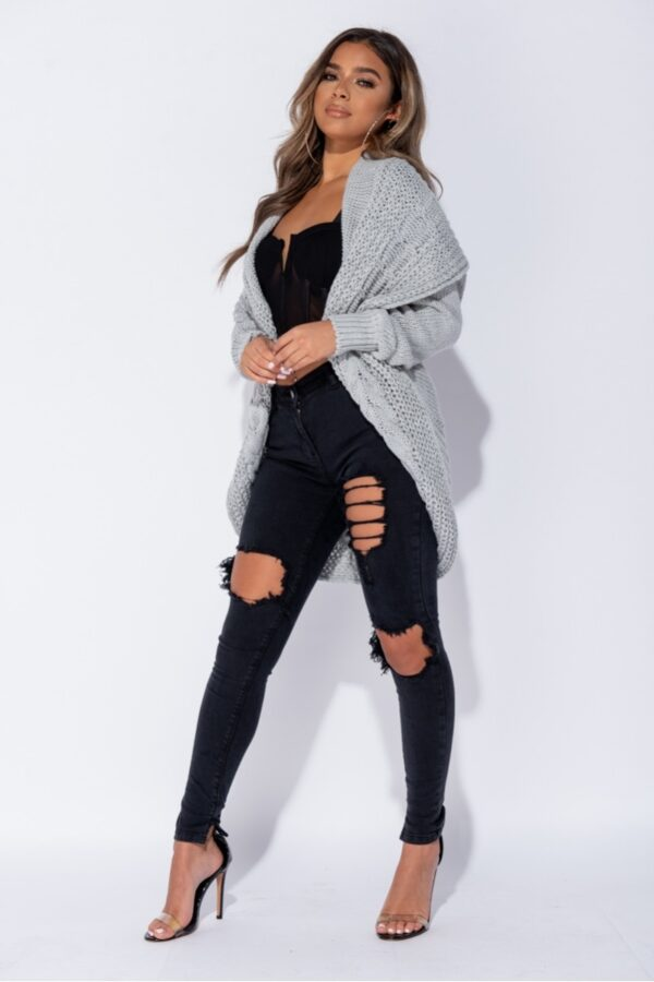 •Shop chunky cable knit shawl collar longline cardigans