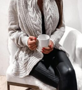 Shop Grey Chunky Cable Knit Shawl Collar Longline Cardigan and women's clothes at www.amora-shopping.com