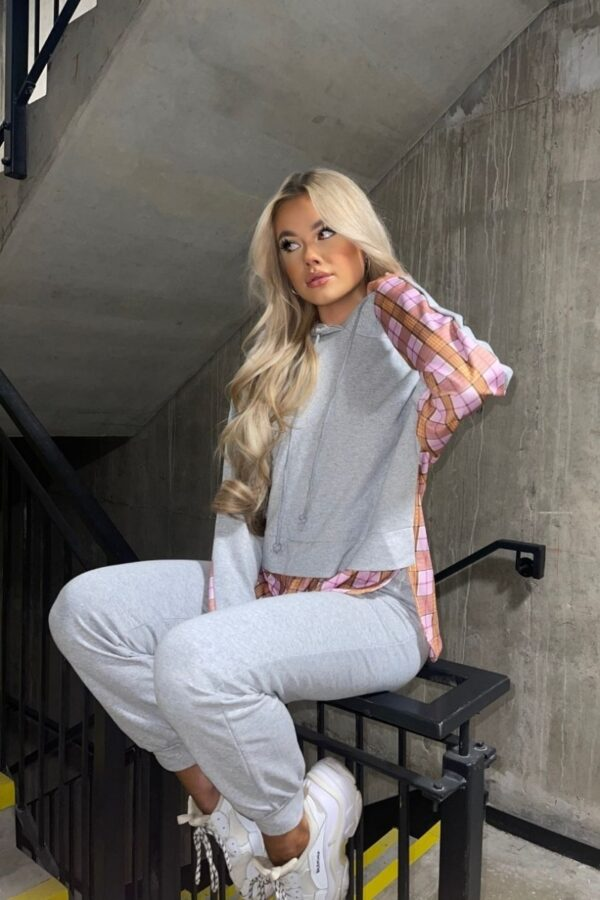 Shop Grey Contrast Checked Hoodie & Jogger Lounge Set and women's clothes at www.amora-shopping.com