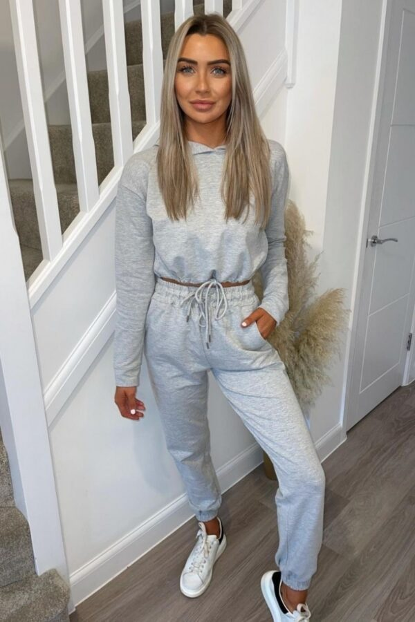 Shop Grey Cropped Hoodie & Jogger Lounge Set and women's clothes at www.amora-shopping.com