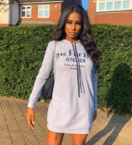 Shop Grey Die For Dior Hooded Jumper Dress and women's clothes at www.amora-shopping.com