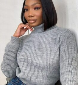 Shop Grey Roll Neck Ribbed Jumper and women's clothes at www.amora-shopping.com