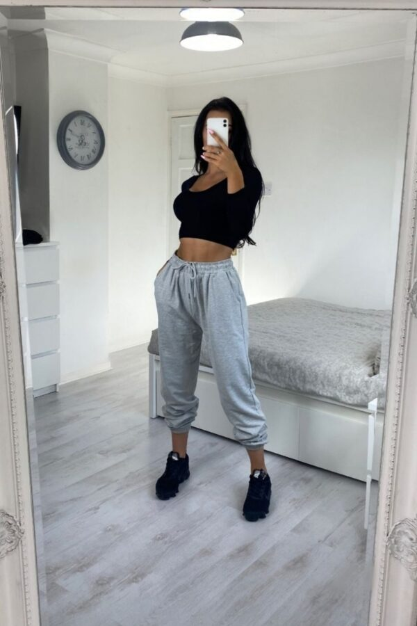 Shop Grey Tie Waist Oversized Joggers and women's clothes at www.amora-shopping.com