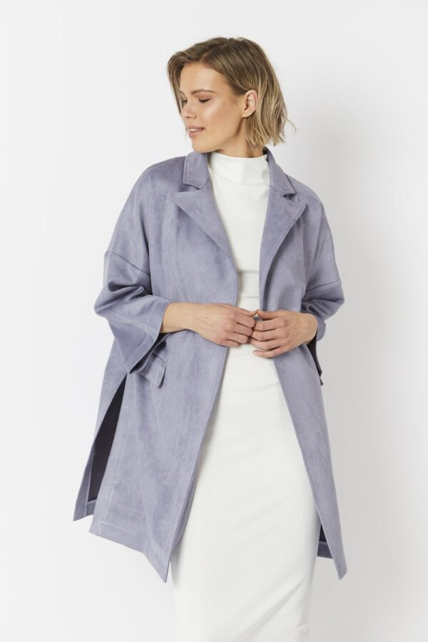 Shop Faux Suede Glitter Effect Jacket and women's clothes at www.amora-shopping.com