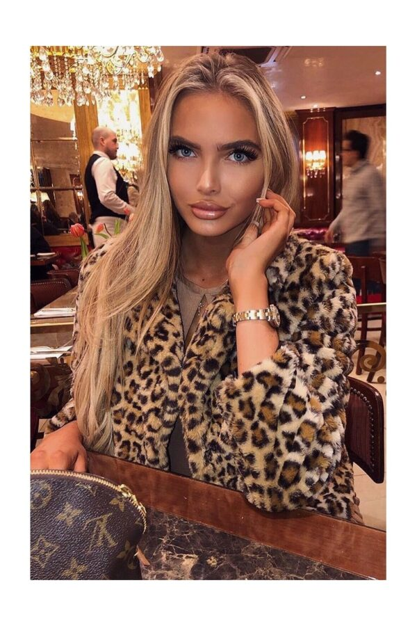 Shop Leopard Print Faux Fur Edge To Edge Jacket and women's clothes at www.amora-shopping.com